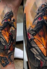 插画风格彩色邪恶机器人手臂纹身图案