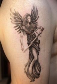 点刺风格的天使战士手臂纹身图案