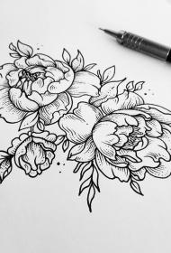 牡丹花点刺线条纹身手稿