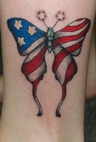 脚踝美国国旗蝴蝶纹身图案