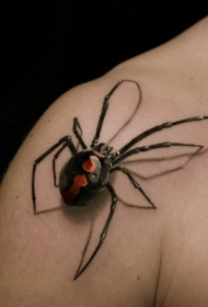 肩部3D逼真的蜘蛛纹身图案
