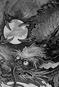 传统龙和龙珠纹身图案手稿