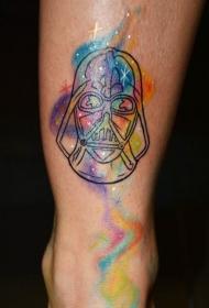 简单的面具和五彩烟雾脚踝纹身图案