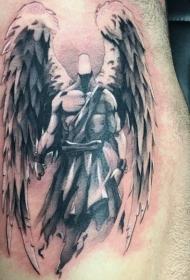 侧肋很酷的黑白天使纹身图案