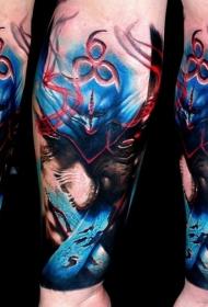 手臂抽象风格的彩色神秘幻想恶魔纹身图案
