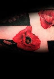 手臂彩色的花朵和白色十字架纹身图案