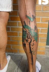 小腿抽象风格的彩色手与时钟纹身图案