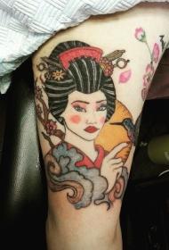 old school五彩的亚洲艺妓与鸟手臂纹身图案