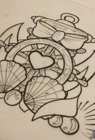 欧美黑色线条船舵贝壳纹身图案手稿