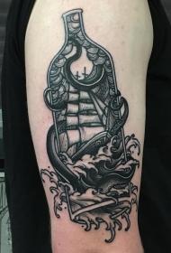 欧美school海浪帆船瓶子章鱼纹身图案