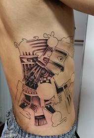 侧肋滑稽的抽象士兵纹身图案