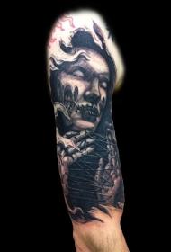 恐怖风格的黑色女巫肖像手臂纹身图案