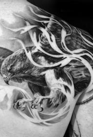 肩部非常详逼真的3D飞翔老鹰纹身图案