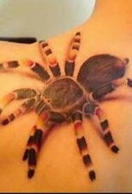写实的3D蜘蛛肩部纹身图案