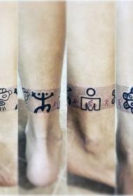 各种部落符号黑色脚踝纹身图案