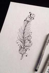 清秀漂亮的羽毛花卉纹身图案手稿