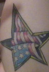 美国国旗和五角星彩色纹身图案
