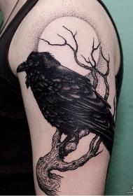 大臂欧美乌鸦点刺月亮纹身图案