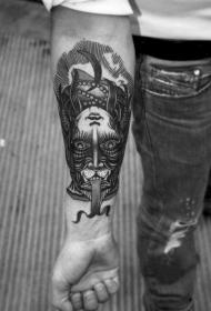 手臂神秘的半女巫半动物双面纹身图案