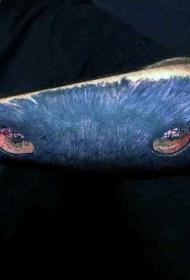 new school黑色的豹子眼睛手臂纹身图案