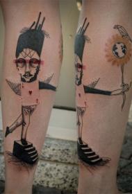 小腿抽象风格的彩色滑稽男子纹身图案