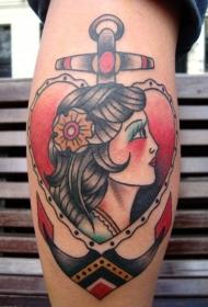 old school小腿船锚与女孩心形纹身图案