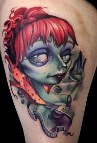 大腿彩色的3D怪物女人和字母纹身图案