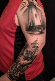 手臂3D黑白灯塔和海盗帆船纹身图案