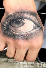 3D风格的女性眼睛手背纹身图案