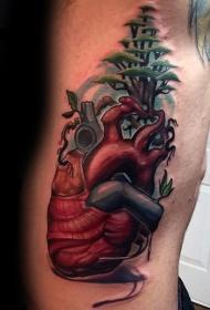 新风格的彩色心脏与树手臂纹身图案