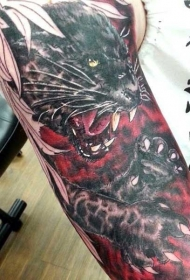 new school黑豹彩绘手臂纹身图案