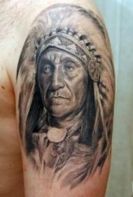 北美土著老战士肖像大臂纹身图案