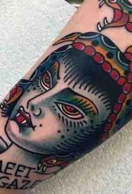 old schoo字母与邪恶美杜莎手臂纹身图案