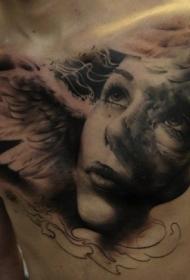 胸部上的天使肖像写实纹身图案