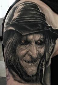 大臂3D风格的彩色逼真女巫肖像纹身图案