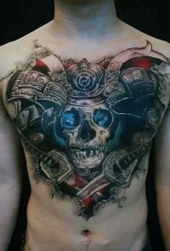 胸部很酷的彩色3D武士骷髅和交叉剑纹身图案