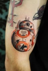 手臂彩色可爱的星战机器人纹身图案