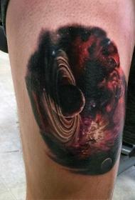 大腿彩绘深空行星纹身图案
