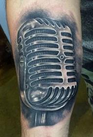 非常逼真的黑白写实麦克风手臂纹身图案