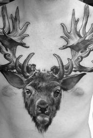 胸部3D黑色的鹿头纹身图案