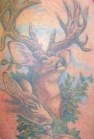 小鹿家族彩色纹身图案