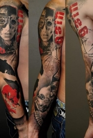 手臂未来主义风格的女性肖像与骷髅乌鸦纹身图案