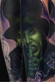 new school彩色的怪物肖像手臂纹身图案