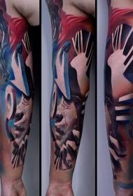 手臂抽象风格的彩色的人像纹身图案