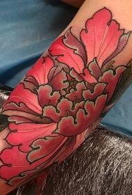新传统风格彩色美丽牡丹花手臂纹身图案