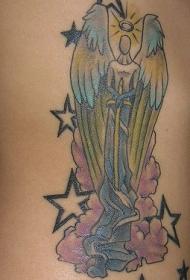 七彩的天使和星星纹身图案