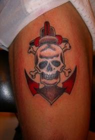 死亡骷髅船锚彩色纹身图案