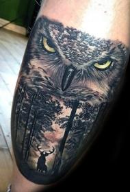 写实风格的彩色猫头鹰和小鹿森林手臂纹身图案