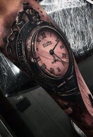 手臂3D逼真的黑白华丽时钟纹身图案