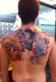 old schoo彩色的天使和印度人像纹身图案
